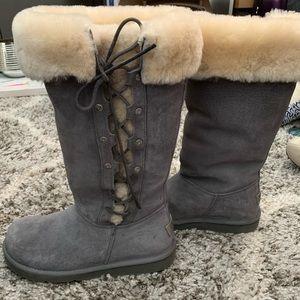 Ugg Australia Upside Boots Sz 8 Dark Grey Tall